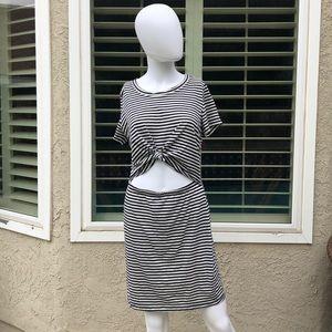 Socialite Blue/White Striped Peakaboo Dress Sz Med